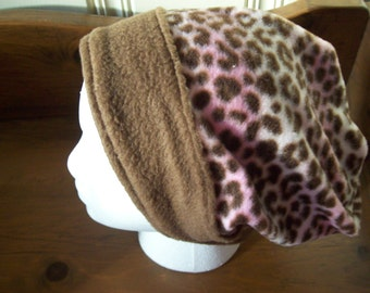 Womans leopard slouch hat with brown brim