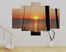 """5 panel Canvas wall Art Ship Sunset,(over 1 metre) Twilight 36 x 50"""" Art Print Canvas Wall Art Unframed Contemporary!!"""