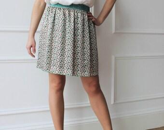 Pure silk skirt, skirt, skirt, skirt pattern abstract multi-color boho chic, skirt with elastic waist, lightweight skirt, evening skirts