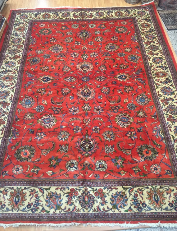 "9'9"" x 12'9"" Persian Sarouk Oriental Rug - Very Fine - Hand Made - 100% Wool"