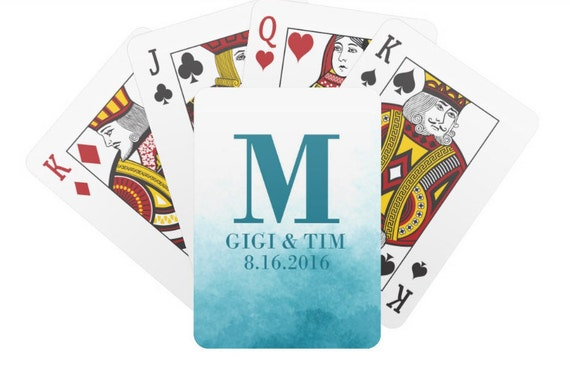 Personalized Ombre Watercolor Wedding Playing Cards Custom