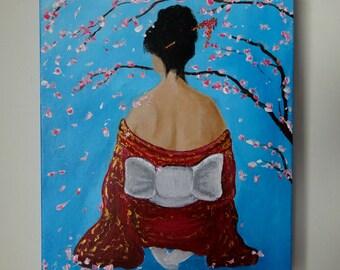 Japanese Kimono Woman Painting Cherry Blossom Tree Sakura Original Painting on Canvas