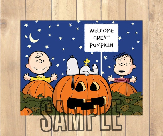charlie brown great pumpkin favor tag labels 6 per page