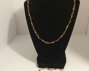 Purple Paradise wire Necklace and Bracelet