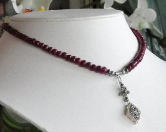 Ruby Necklace with Antique silver pendant -   #424