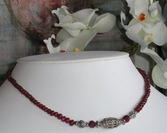 Ruby Necklace with Antique Silver Pendant  -   #425
