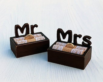 Set wedding boxes - Mr & Mrs, Ring bearer boxes,Rustic wedding boxes,Ring boxes Mr and Mrs,Rustic wedding box,Personalized Mr and Mrs boxes