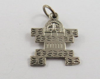 Mayan Aztec Man Sterling Silver Pendant or Charm.