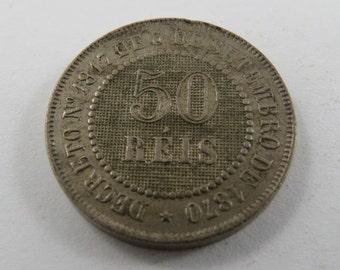Brazil 1886 50 Reis Coin.