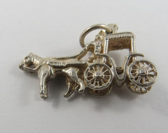 Single Horse Drawn Vis-a-Vis Carriage and Driver Sterling Silver Charm of Pendant.