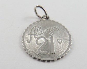 Always 21 Sterling Silver Pendant or Charm.