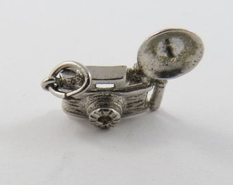Old Fashioned Flashbulb Camera Sterling Silver Pendant or Charm.