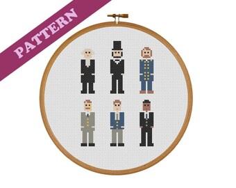 US Presidents Washington, Lincoln, Grant, Roosevelt, Kennedy, Obama Cross Stitch Pattern, Historical Instant PDF Download, Printable Pattern