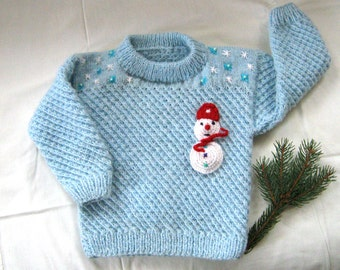 Hand knit boy sweater/Snowman sweater/Christmas sweater