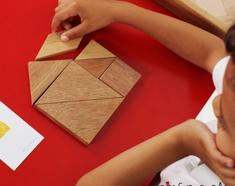 DOUBLE TANGRAM in a Wooden Box, Tangram, Wooden Puzzle, Chinese Puzzle