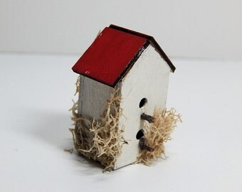 Miniature White Two Story Mossy Bird House