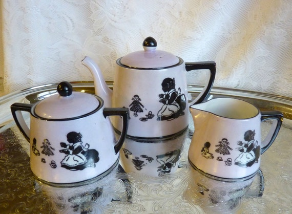 "HALF PRICE SALE ~Child's Tea Set ~ Antique Noritake ~ Early 1900s ~ 15 Pieces ~ ""Lavender Silhouette"" ~ Very Rare"