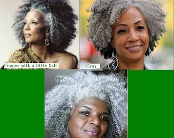 Silver/Gray 20'' Afro Kinky Curly Human Hair Braiding Bulk Extensions 4oz