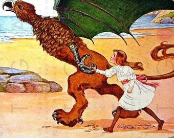 ALICE & The GRYPHON. Rare Vintage Alice In Wonderland Illustration. Digital Alice Download. Alice Antique Image.