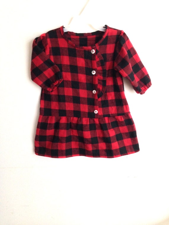 Baby Toddler Girl Winter Christmas Flannel Dress By Littlemica