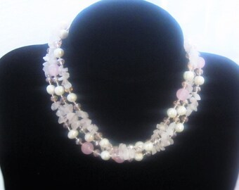 Beautiful, Long, Freshwater Pearls with Rose Crystals, beaded necklace, 48 inches
