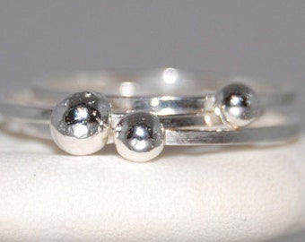 Set of 3 Stacking Rings, Stacking Ball Rings, Stacking Silver Rings, Silver Rings Stacking, Stacking Set