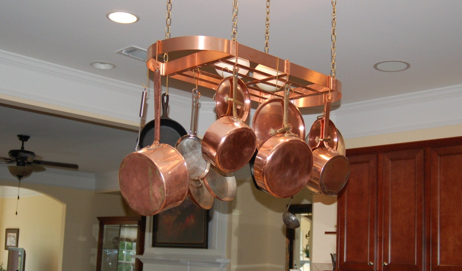 32x12 inch Handmade Hanging Copper Pot Rack Oval with