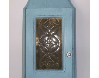 French Blue Distressed Wooden Key Cabinet