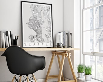 Map of Seattle, Washington - Seattle Decor - Map ART - Seattle Poster - Office Decor - Scandinavian Art - Travel Map - Seattle Travel Poster