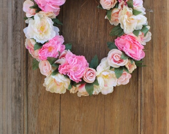 Spring Wreath, Peony Wreath, Pink Wreath, Rose Wreath, Floral Wreath, Wedding Wreath, Front Door Wreath, Housewarming, Pink Peonies, Roses
