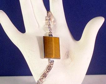 Vintage Bracelet JACOBY BENDER Sterling Silver Tiger Eye Bracelet - Gift for Her