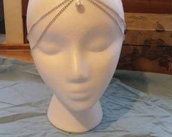 Silver Boho Head Piece with pearl