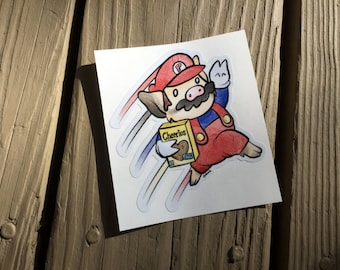 "Cute Little Pig ""Super Sukoshi Bros 2"" Piggy Vinyl Die Cut Art Decal Indoor/Outdoor Sukoshi Buta Mini Pig Pigxel Art Super Mario Nintendo"