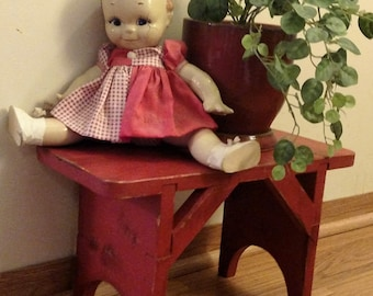 Upcycled and Distressed  Small Red Bench