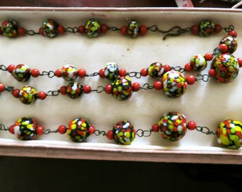 Vintage 1940s vintage Murano speckled multicoloured glass wire linked necklace