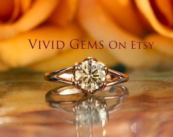 1 1/4 Carat Champagne Diamond Engagement Ring, Rose Gold Tulip Solitaire Ring