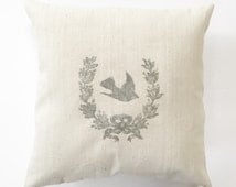 Pillow Cover French Grain Sack Wreath with Bird