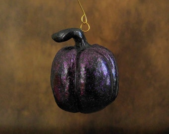 Black Pumpkin with Purple Glitter Ornament