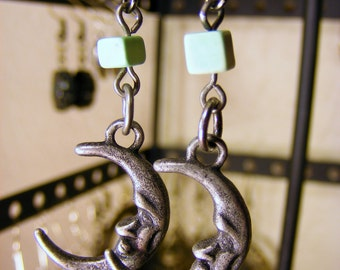 Moon with Green stone Earring