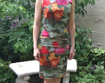 Beautiful 1960s Floral Print Shift Dress, Angrist
