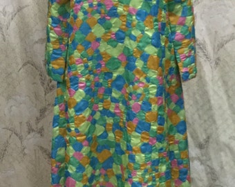 Vintage 1970s Multi-color House Dress