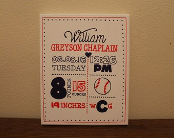 "Personalized Baby Canvas/ Sports Themed/ Baseball, Basketball, Soccer, Football, etc./11""x14"""