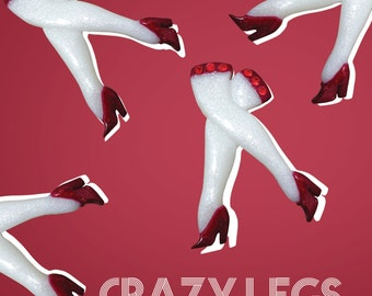 NEW!! The Crazy Legs brooch - 1950's vintage burlesque inspired