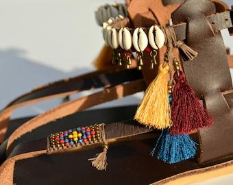 Women Sandals, Sandals, Leather Sandals, Decorated Sandals, Coachella, Festival Shoes, Gladiator Sandals, Strappy Sandals, Summer Sandals