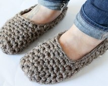 Chunky Knit Women's Slippers Crochet House Shoes Socks >> THE OSNABROCKS << Barley