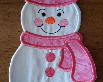 Iron On Applique Snowman- Pink