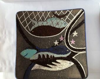 50s Upsala Ekeby stone ware plate / Spectra series by Anna-Lisa Thomson