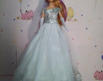 Barbie doll clothes, Barbie Wedding Dress with VEIIL & long SATIN GLOVES, White barbie gown, Barbie dress, Barbie ballgown, Barbie fashion