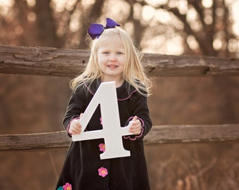 4 Sign Photo Prop for Fourth Birthday Photo Shoot for Kids - Wooden Number Four Sign Photographer, Number Three Sign (Item - NUM004)