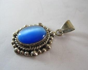 Vintage Sterling Silver Blue Gemstone Pendant